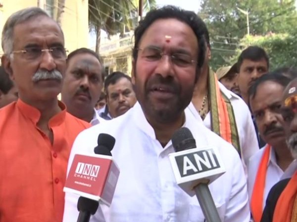 Minister of State for Home Affairs G Kishan Reddy speaking to media on Sunday. (Photo/ANI)