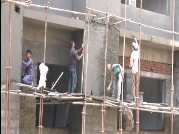 Construction work on new building of Government Medical College being done in Rajouri in Jammu and Kashmir. [Photo/ANI]
