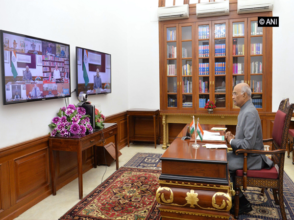 President Ram Nath Kovind during President Ram Nath Kovind taking part in video-conference with Governors, Lieutenant Governors and Administrators of various states on Friday.