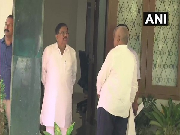 Visuals from Deputy Chief Minister G Parameshwara's residence in Bengaluru.