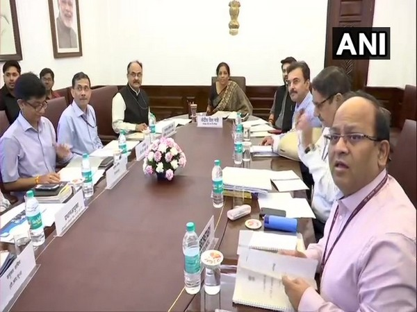 GST Council Chairperson and Finance Minister Nirmala Sitharaman (centre) in New Delhi on Saturday