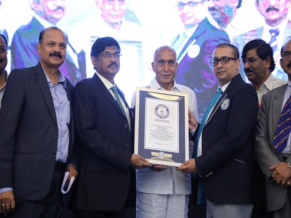 Dr. P. Ramesh Babu, Chief Cardiologist and Managing Director of Dr. Ramesh Cardiac & Multi-Specialty Hospitals receiving certificate