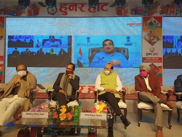 Union MSME Minister Gadkari inaugurates Hunar Haat in UP's Rampur via video conferencing on Friday. (Image courtesy: Ministry of Minority Affairs)