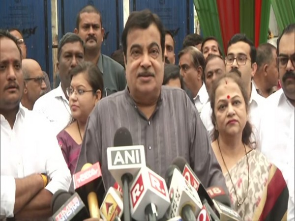 Union Minister Nitin Gadkari addressing media persons on Monday after casting vote in Maharashtra assembly polls. Photo/ANI