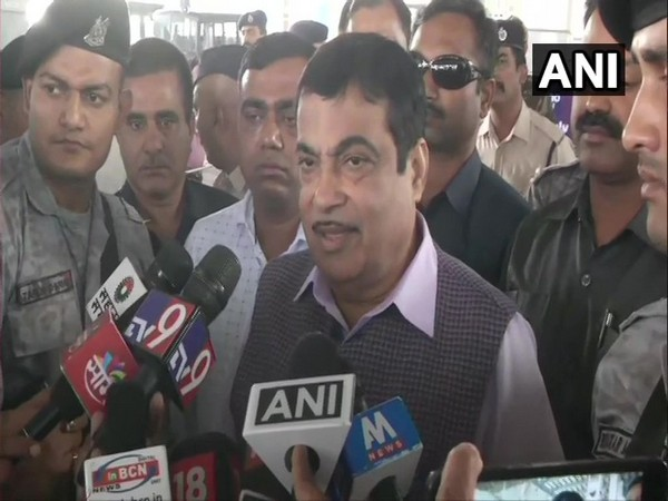 Union Minister Nitin Gadkari speaking to reporters in Nagpur on Thursday.