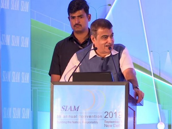 Minister of Road Transport and Highways Nitin Gadkari addressing a gathering at the SIAM 59 annual convention, 2019 in New Delhi on Thursday. (Photo.ANI)