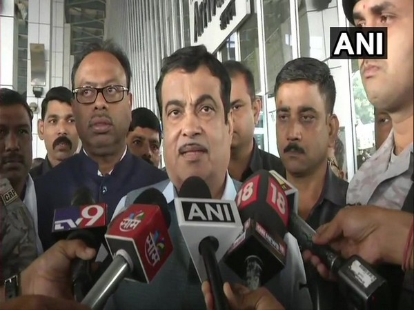 Union Minister Nitin Gadkari speaking to reporters in Nagpur on Saturday.