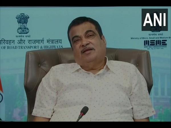 Union Minister Nitin Gadkari speaking during webinar on Tuesday. Photo/ANI