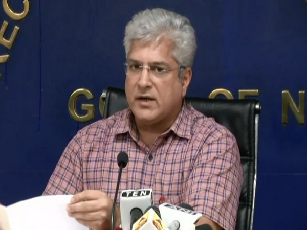 Delhi Transport Minister Kailash Gahlot addressing a press conference in New Delhi on Wednesday. (Photo/ANI)