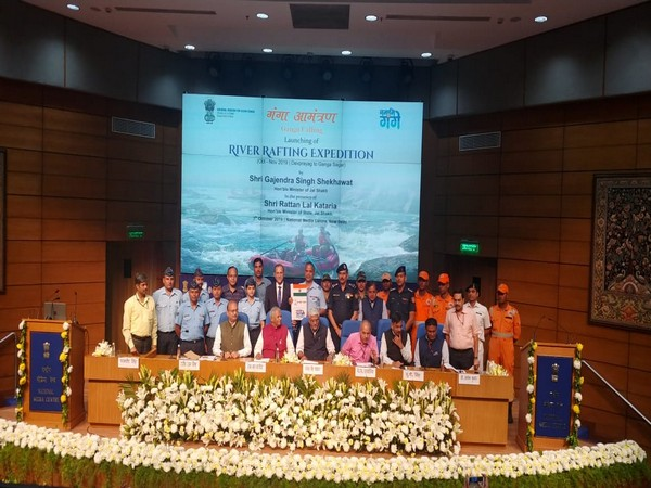 Union Minister Gajendra Singh Shekhawat at the announcement of the Ganga Calling expedition in New Delhi on Monday. Photo/ANI