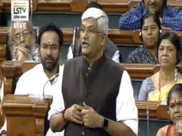 Jal Shakti Minister Gajendra Singh Shekhawat speaking at Lok Sabha on Thursday. (Photo Credits: LSTV)