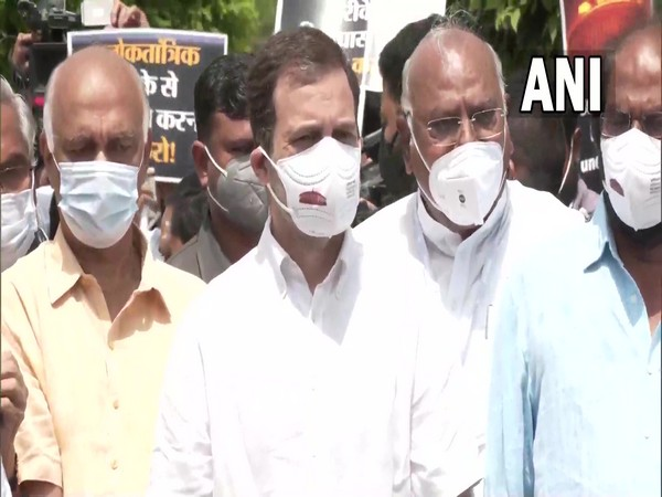 Congress leader Rahul Gandhi during the protest march today. (Photo/ ANI)