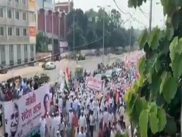 Congress holds Gandhi Sandesh Yatra on Wednesday. (Photo/ANI)