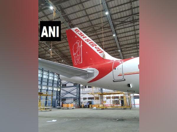 Portrait of Mahatma Gandhi painted on the tail of an Airbus-320 aircraft of the Air India fleet in New Delhi on Wednesday. Photo/ANI
