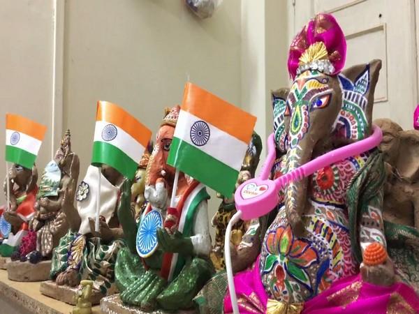 Ganesha idols created by women in Indore. Photo/ANI