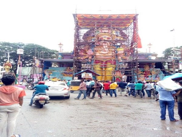 The statue being constructed by the Ganesh Utsava Committee in Hyderabad. Photo/ANI