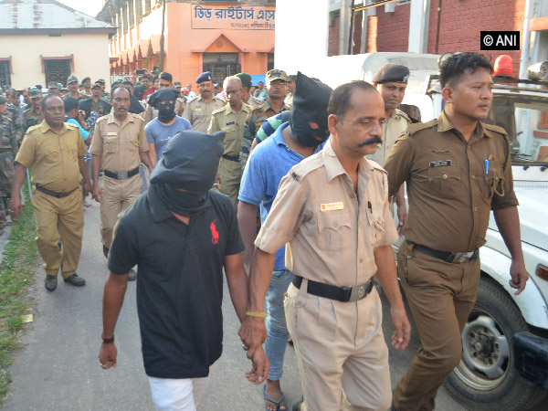 Six suspects being produced in the Agartala district court. (File photo)