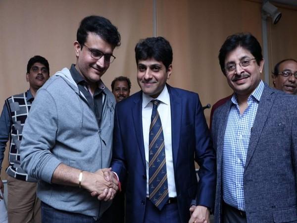 From Left to Right: Sourav Ganguly, Avishek Dalmiya, and Snehasish Ganguly (Photo/ ANI)