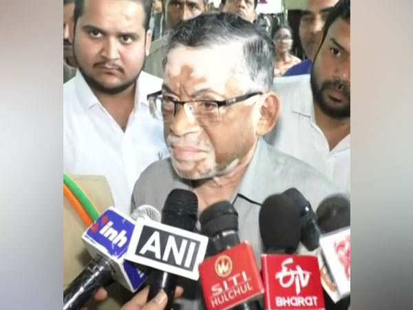 Union Minister Santosh Gangwar speaking to reporters in Gwalior on Sunday. (Photo/ANI)