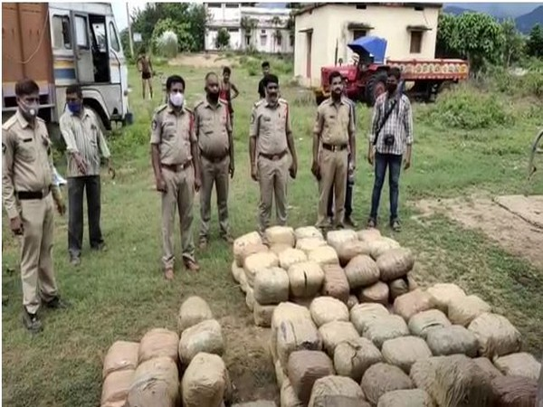 Andhra Pradesh Police seize 675 kg of Ganja in abandoned lorry. Photo/ANI