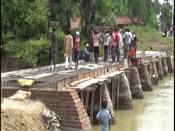 Villagers constructing bridge in Budhaul village, Gaya district. (Photo/ANI)