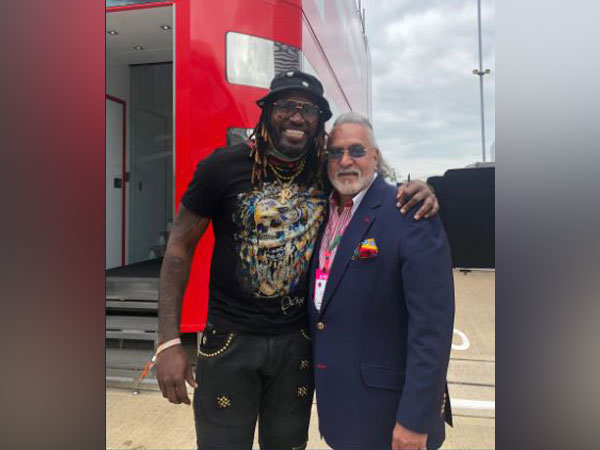 West Indies player Chris Gayle (left) meets Vijay Mallya (right) (Photo/ Chris Gayle Twitter)