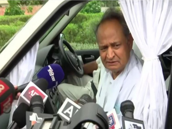 Rajasthan Chief Minister Ashok Gehlot speaking to media in Jaipur on Saturday. (Photo/ANI)