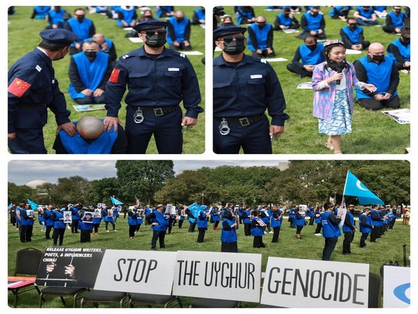 Uyghur American Association, along with other organizations, staging a rally in front of the US Capitol on October 1. (Credit: UAA)