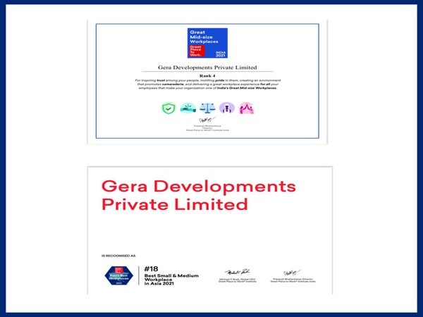 Gera Developments ranks 18th amongst Best Small and Medium Workplaces in Asia and 4th amongst India's Great Mid-Size Workplaces