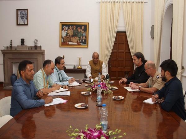 Defence Minister met German ambassador Walter J Lindner in New Delhi on Monday. (Photo by MoD)