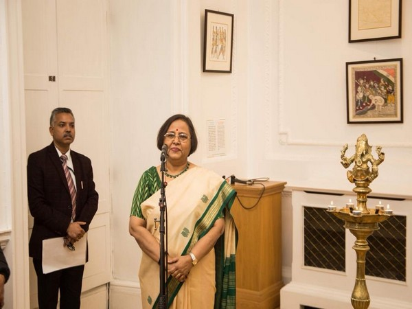 Indian High Commissioner to UK Ruchi Ghanashyam after inaugurating the exhibition on Mahatma Gandhi in London on Wednesday.