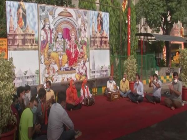 People singing bhajans ahead of Ram Temple's foundation laying ceremony on Wednesday. (Photo/ANI)