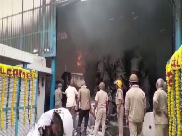A fire broke out at a paper factory in Sahibabad District, Ghaziabad on Tuesday.