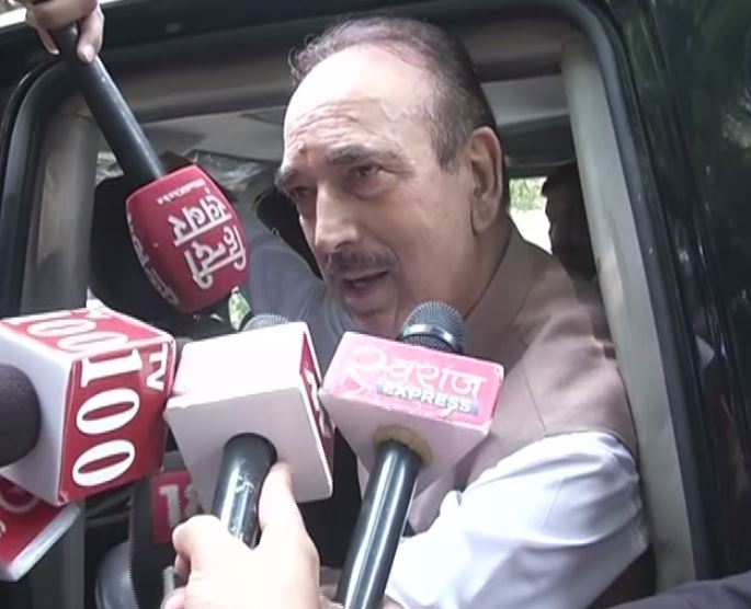 Senior Congress leader Ghulam Nabi Azad speaking to reporters in New Delhi on Tuesday. (Photo/ANI)