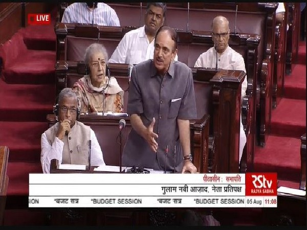 Leader of Opposition in Rajya Sabha Ghulam Nabi Azad speaking in the House on August 5. Image Courtesy: RS TV