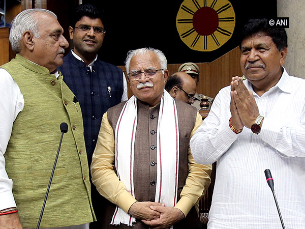 Newly-elected Speaker of Haryana Assembly (extreme right). Photo/ANI