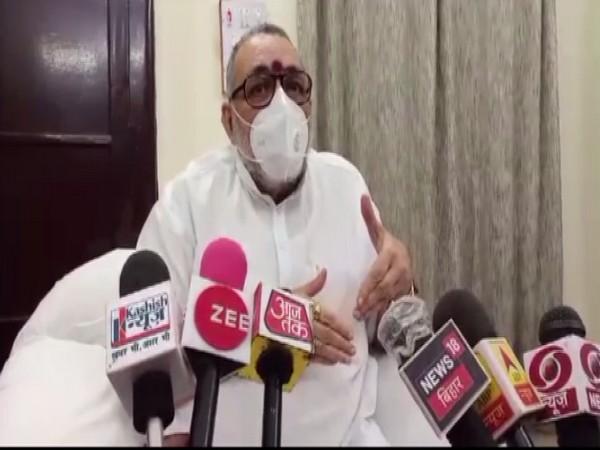 Union Minister Giriraj Singh speaking to reporters in Begusarai on Friday.