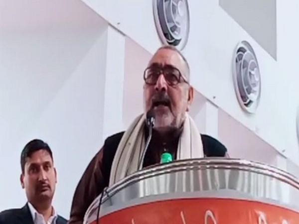 Giriraj Singh speaking at the event in Meerut on Sunday. Photo/ANI