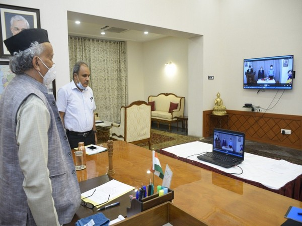 Justice (retired) Ambadas Haribhau Joshi taking oath as Goa's new Lokayukta via video conferencing. (Photo/ANI)