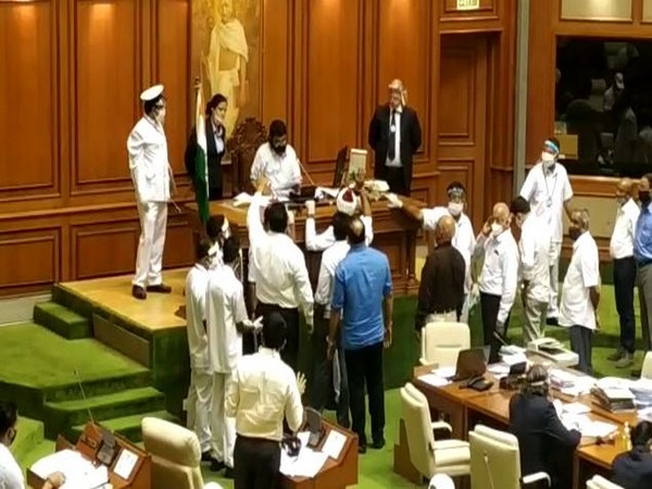 Visual from the ruckus inside Goa Legislative Assembly on Monday. (Photo/ANI)
