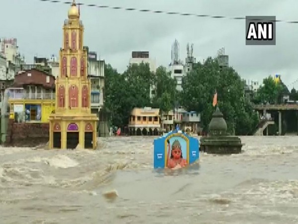 Several houses and temples were submerged in Nashik as river Godavari was flowing above danger level due to heavy rainfall. Photo/ANI