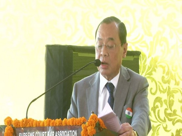 CJI Ranjan Gogoi speaking at the Independence Day function of Supreme Court bar association in Delhi on Wednesday. Photo/ANI