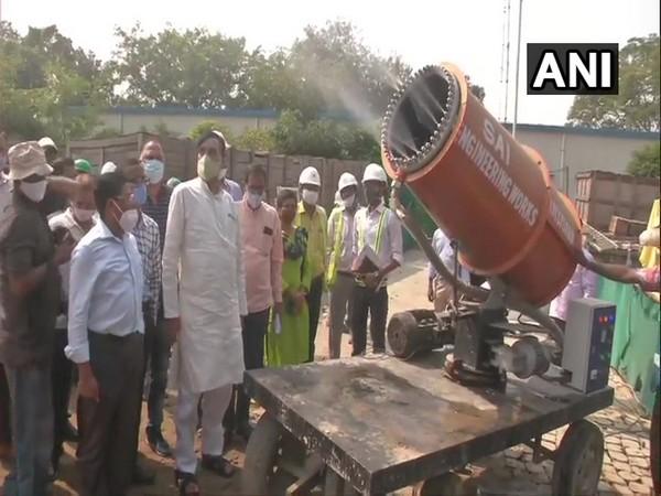 Delhi Environment Minister Gopal Rai inspecting construction site at Pragati Maidan on Friday.