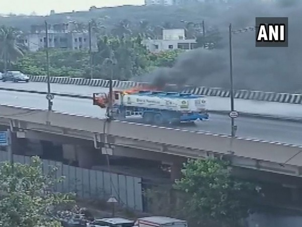An oil tanker caught fire in Mumbai on Monday.
