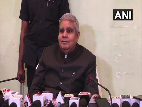West Bengal Governor Jagdeep Dhankhar speaking at a press conference in Siliguri on Monday. Photo/ANI