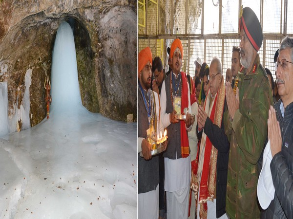 J-K Governor Satya Pal Malik praying at the holy Amarnath cave shrine. Photo/ANI