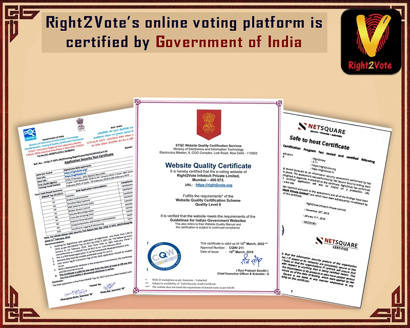 Online Voting Right2Vote Govt of India certificate