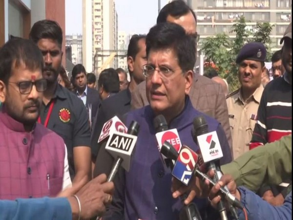 Piyush Goyal speaking to reporters in Ahmedabad on Friday. Photo/ANI