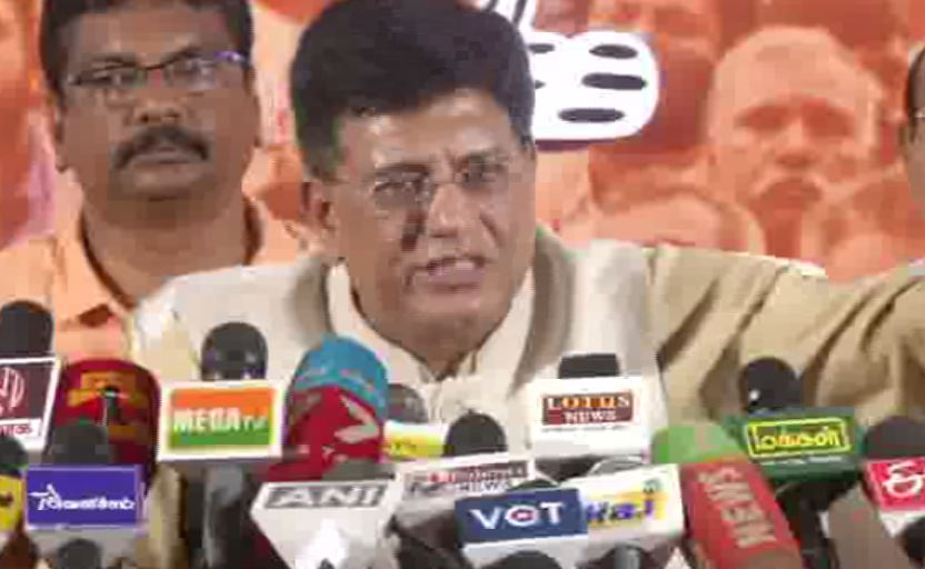 Union Minister Piyush Goyal while talking to reporters in Chennai, Tamil Nadu on Friday. Photo/ANI