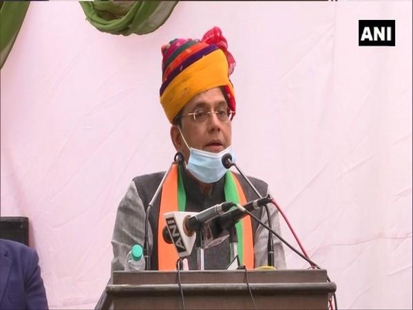 Union Railway Minister Piyush Goyal addressing the event in Alwar. Photo/ANI